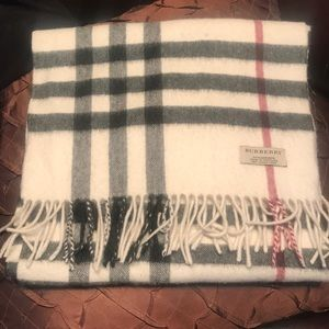 Burberry Cashmere Large Check Scarf/wrap, Ivory